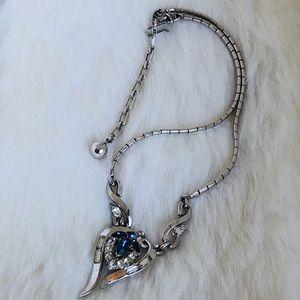 Jewelry - Trifari Silver Tone Necklace Sapphire, Rhinestone